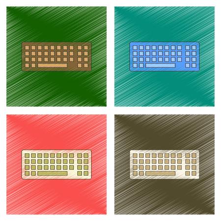 Ensemble de clavier d'ordinateur à plat Illustration sur fond coloré. Banque d'images - 98870106