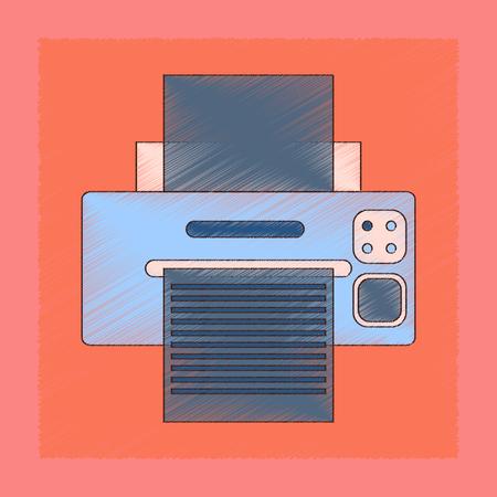 flat shading style icon computer Printer 矢量图像
