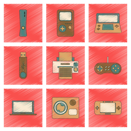 assembly flat shading style icon technology game console flash drive Printer camcorder laptop  イラスト・ベクター素材