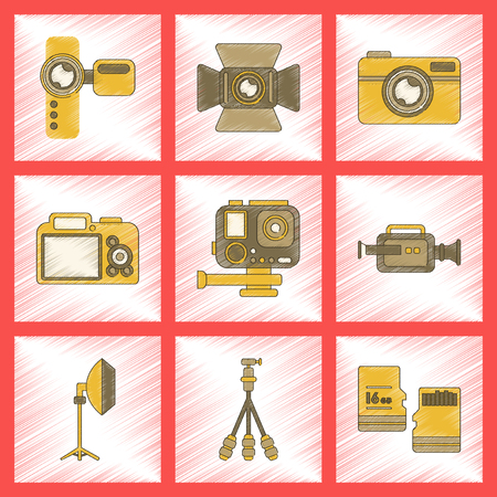 Assembly flat shading style icon multimedia technology camcorder photo camera professional lighting tripod micro SD