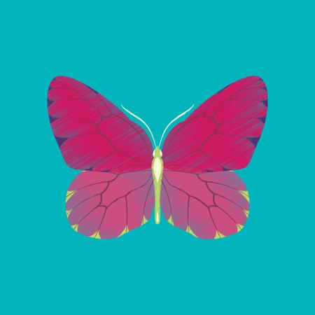 Flat shading style icon butterfly Ilustração