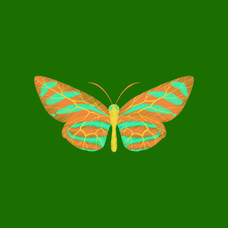 Flat shading style icon butterfly on green background. Illustration