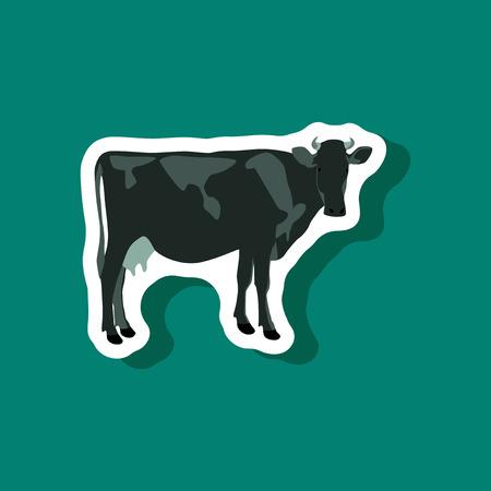 cow paper sticker on stylish background