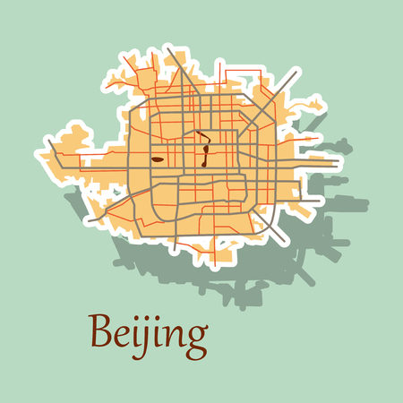 Beijing city map sticker illustration