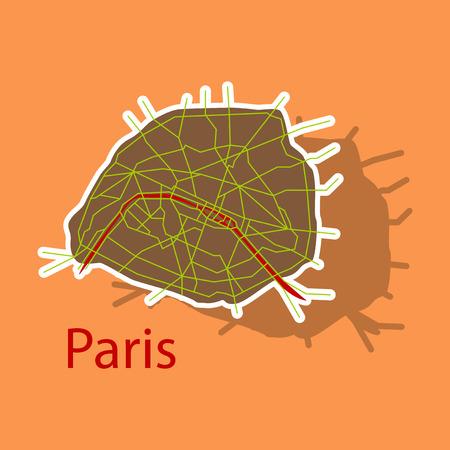 Sticker Urban city map of Paris, France Illustration