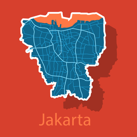 Sticker outline map of the Indonesian capital Jakarta