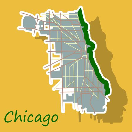 Sticker Map Chicago city. Illinois Roads Illustration