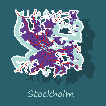 Sticker color map of Stockholm, Sweden. All objects are located on separate layers. 向量圖像