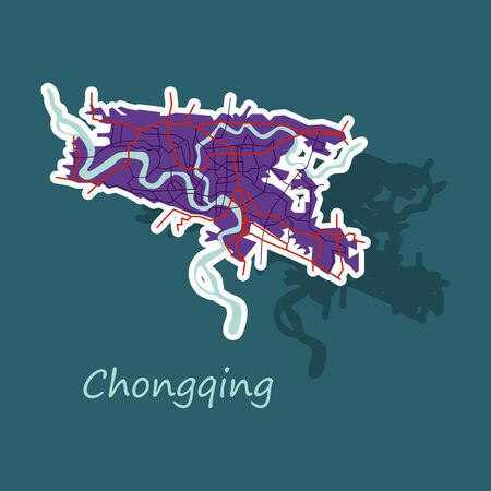 Chongqing City map . Vector illustration. Simple flat concept for tourism presentation, banner, placard or web site. Business travel concept.