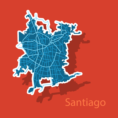 Sticker Road and administrative map of agglomeration Santiago, Chile Vettoriali