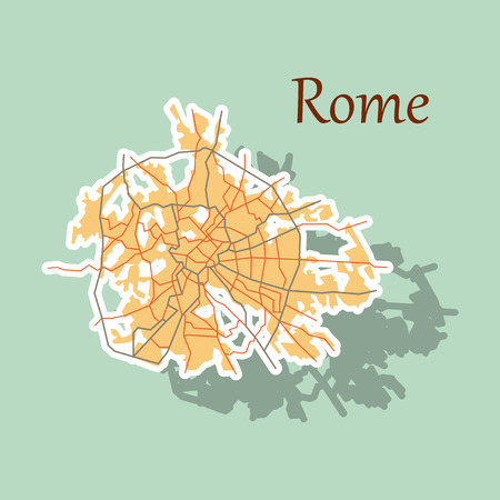 Sticker city map of Rome with well organized separated layers.