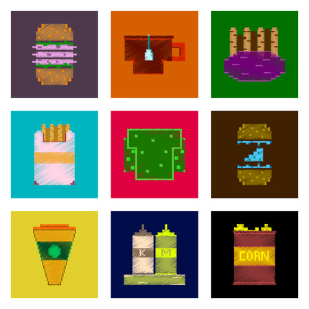 assembly of flat shading style pixel icon fast food  イラスト・ベクター素材