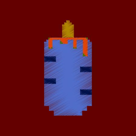 flat shading style icon pixel French hot dog