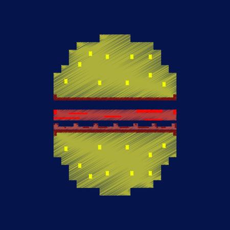 Flat shading style icon pixel hamburger.