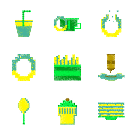 Assembly of flat shading style pixel icon fast food.