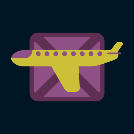 Icon in flat design for airport airplanes flight banned