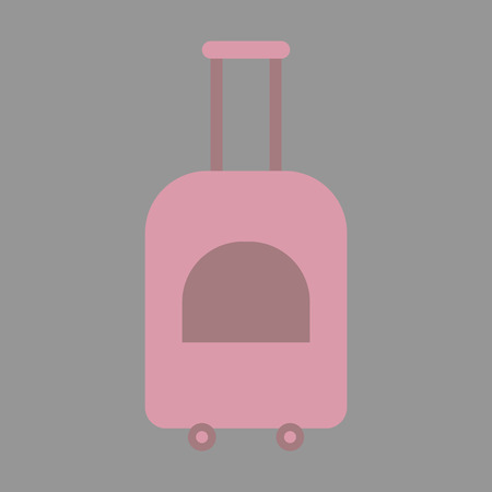 Icon in flat design for airport suitcase on wheels