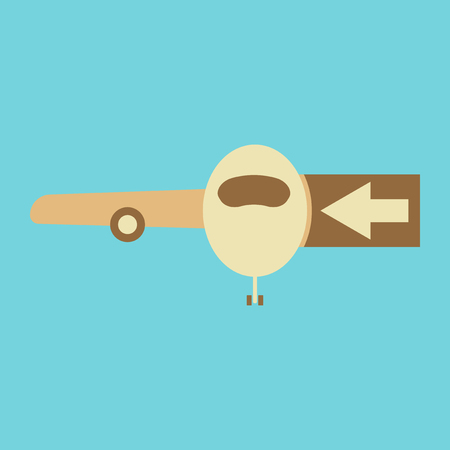 Icon in flat design for airport passengers boarding plane