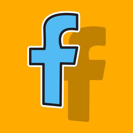 autocollant look inhabituel logo Facebook. Illustration vectorielle. Icône de réseau social. Logo