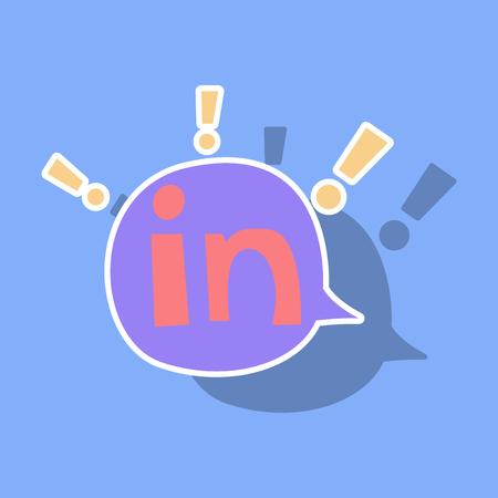 Sticker Linkedin color icon. Glossy app icon logo vector Illustration