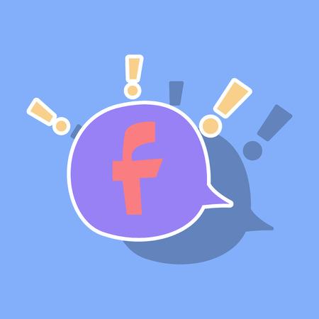 Sticker Facebook logotype. Vector illustration. Social network icon. Stock Vector - 101291794