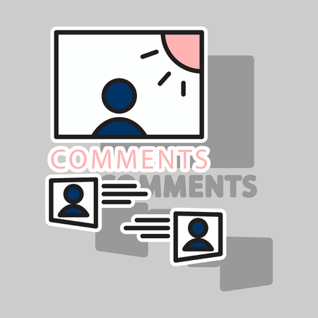 Sticker Self photo concept illustration comments on the photo posting in social networks.
