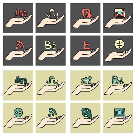 Social network symbols in speech balloons Vectores