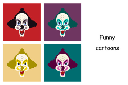 assembly of flat icons on theme funny clowns vampire Illustration