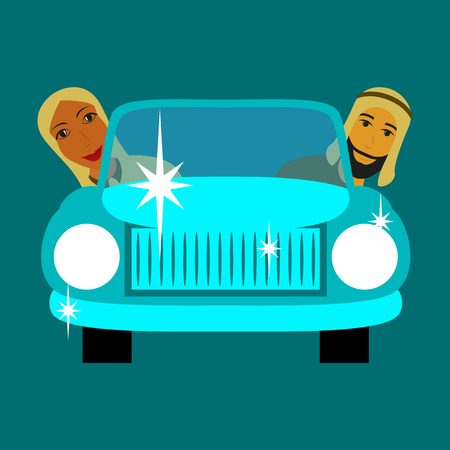 flat icon on theme Arabic business muslim in the car Ilustração