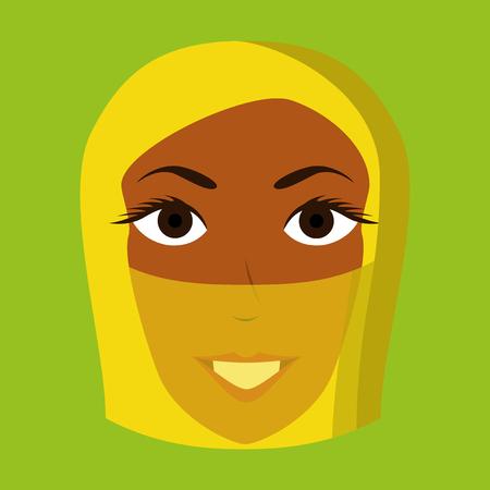 flat icon on theme Arabic business portrait of a Muslim woman