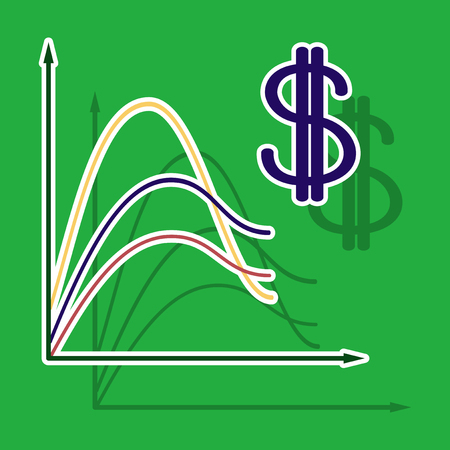 paper sticker on theme Arabic business dollar chart