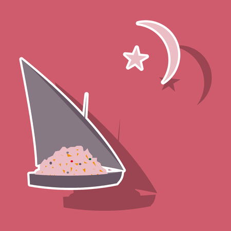 paper sticker on theme Arabic business ship with jewels