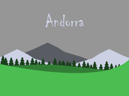 flat icons on theme of Andorra landscape