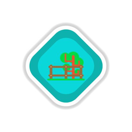 paper sticker on white background Fenced tree  イラスト・ベクター素材