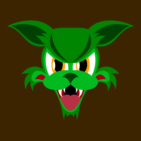 flat icon on theme evil animal angry cat