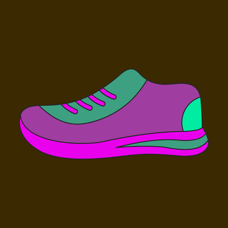 Icon in flat design sports shoes