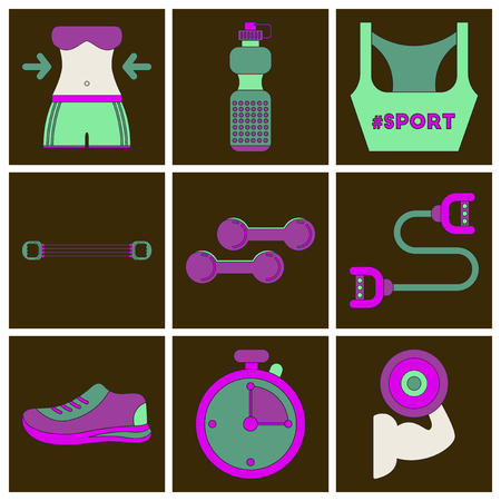 Set of Icons in flat design Fitness equipment Stock Illustratie