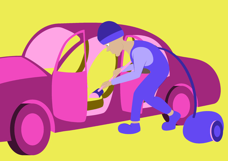 Cleaning car interior vector illustration. Worker making use of vacuum cleaner