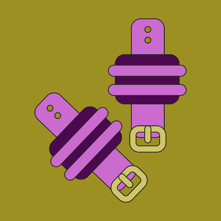 Icon in flat design Athletic weights on legs