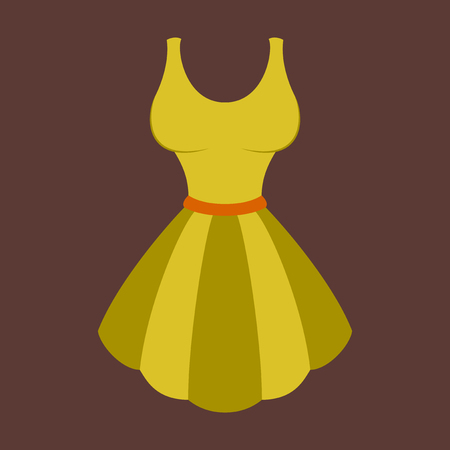 Icon in flat design fashion clothes fluffy dress