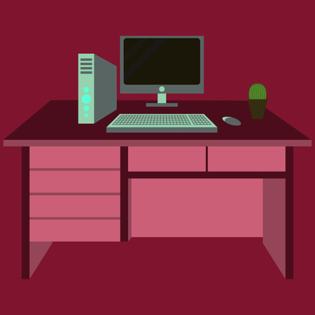 Workplace Desk computer plant Top Angle View Flat Vector Illustration