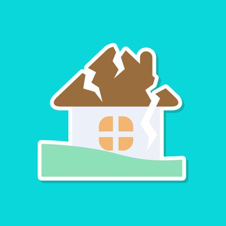 paper sticker on stylish background nature house crash