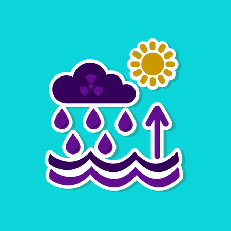 paper sticker on stylish background Radioactive cloud and rain