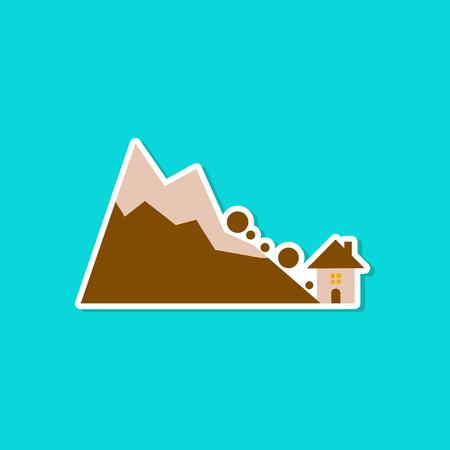 paper sticker on stylish background House avalanche