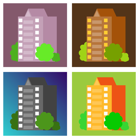 Set of modern multi-storey building with a complex design. The concept of construction. Vector illustration. Illusztráció