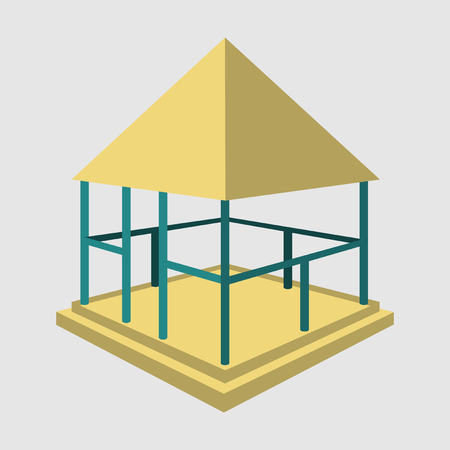 Garden pavilions and garden furniture icon set. Landscape design elements in flat style, isolated on background.
