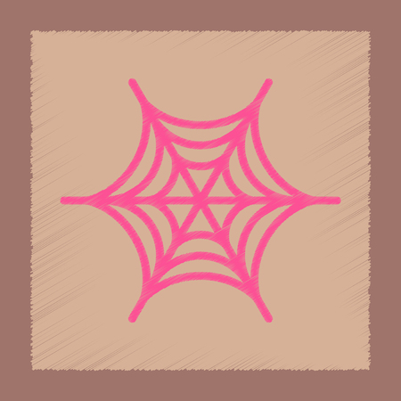 flat shading style icon of spider web Иллюстрация