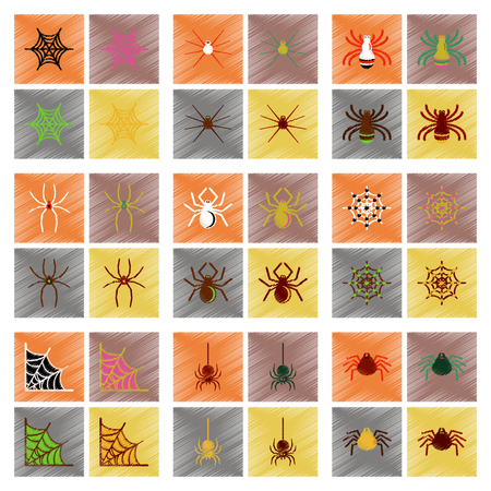 conjunto de iconos de estilo de sombreado plano de tela de araña de halloween Ilustración de vector