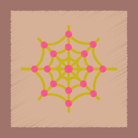 icono de estilo de sombreado plano de tela de araña Ilustración de vector