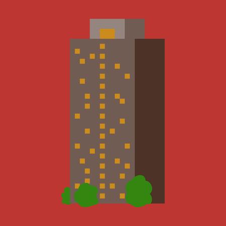 복잡한 디자인의 현대적인 다층 건물입니다. 건설의 개념. 벡터 일러스트 레이 션.